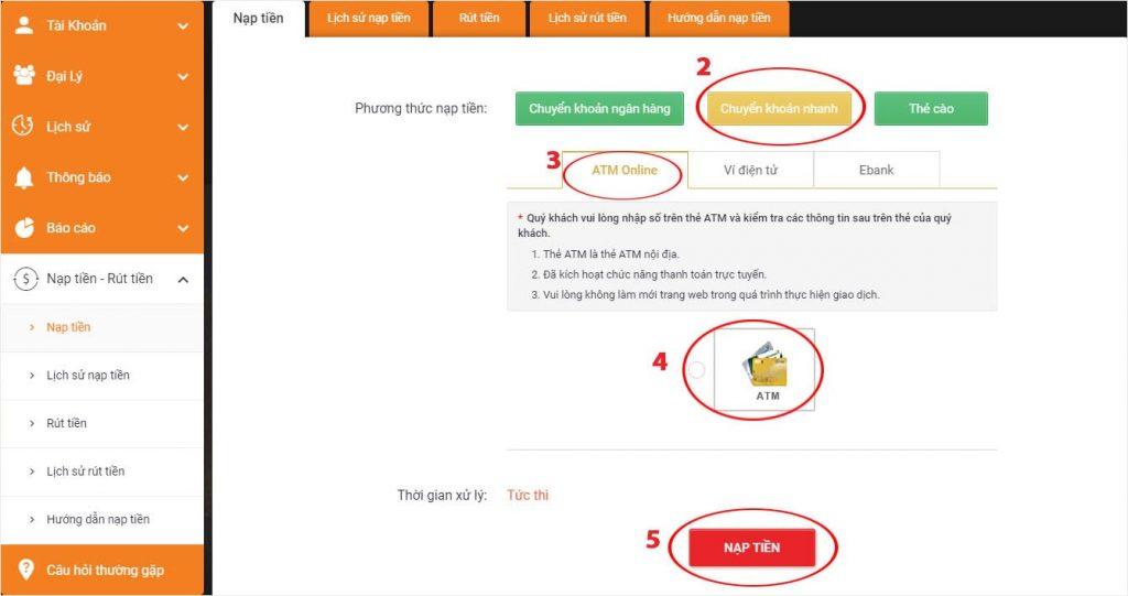 Nạp tiền vào lixi88 bằng ATM online