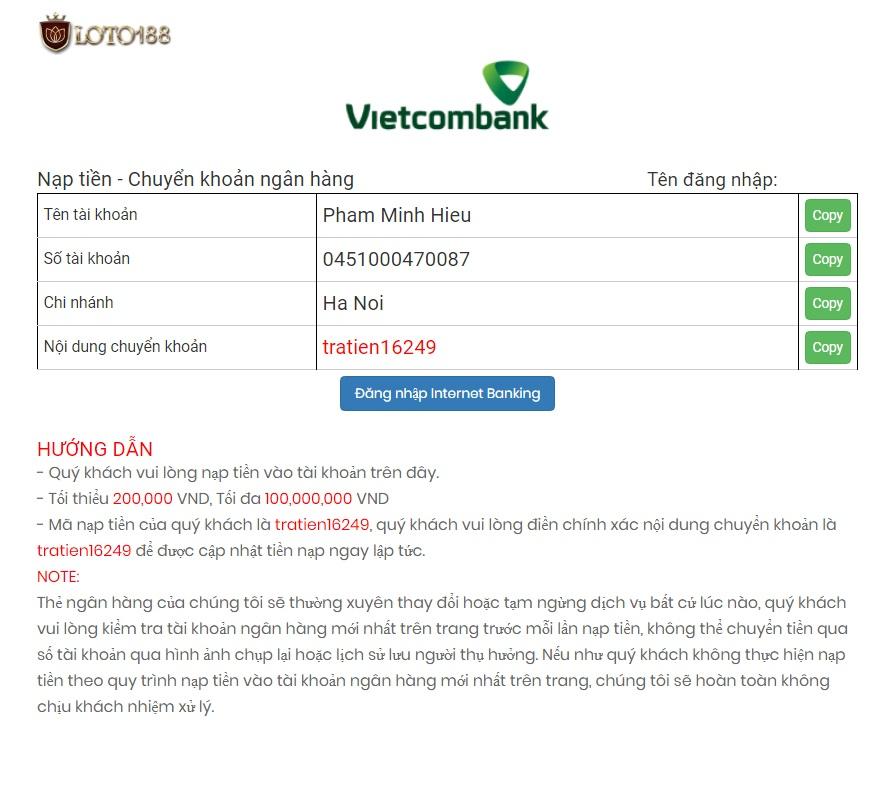Nạp tiền loto188 bằng vietcombank