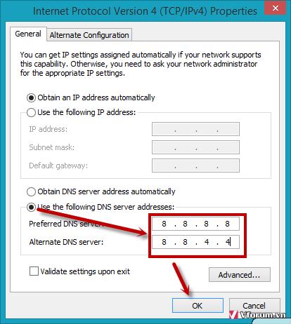 Cách đổi DNS vào lixi88