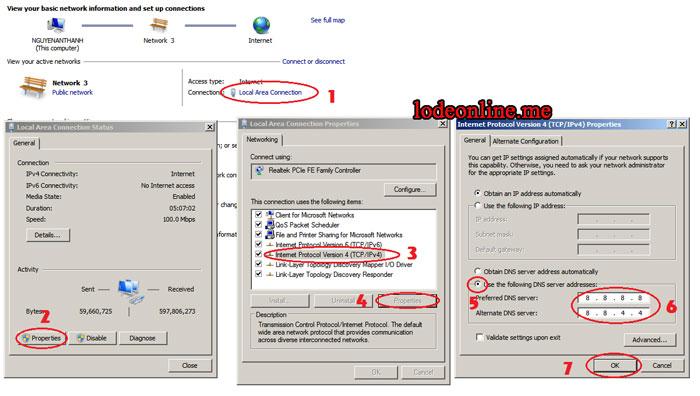 Hướng dẫn cách đổi DNS vào lixi88